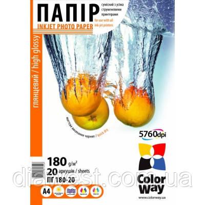 Бумага для принтера/копира ColorWay PG180-20 A4 (PG180020A4)