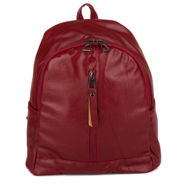 красный женский рюкзак экокожа