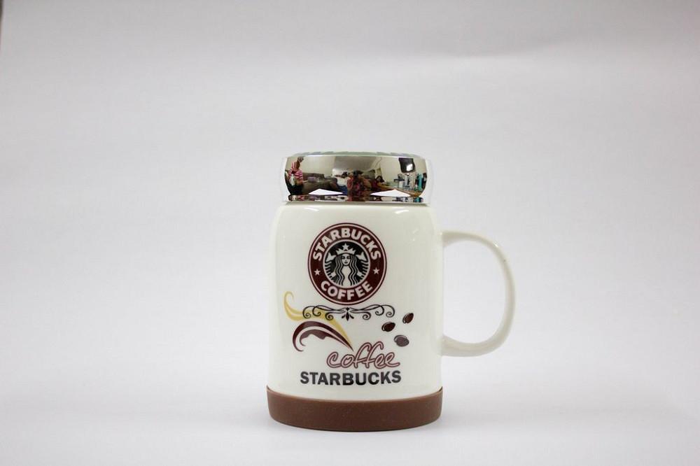 Чашка керамическая кружка Starbucks с крышкой SH 025-1 Brown