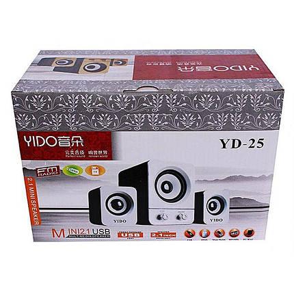 USB колонки для ПК компьютерные колонки 2.1 YIDO YD-25 Black, фото 2