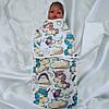 """Пеленка на липучке """"Единороги"""" + шапочка для новорожденных"""