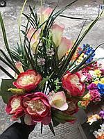 Искусственные цветы разные цвета в упаковке Шикарный букет из пионов, фото 1