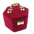 Футляр для кольца Сундук Шестигранный бордо, фото 2