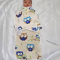Пеленка-кокон на липучке + шапочка для новорожденных 100% хб, фото 1