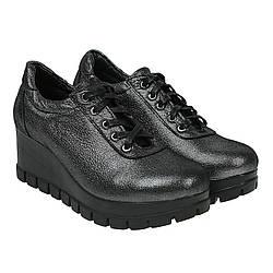 Туфли женские U.Spirit (серебристого цвета, кожаные, и комфортной танкетке)
