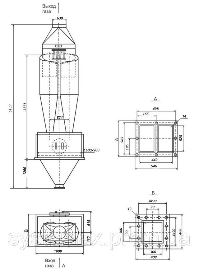 Габаритные и установочные размеры циклона ЦН-15-800х2СП