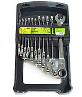 Набор ключей комбинированных трещоточных с карданом 8-19 мм Alloid 11 предметов (НК-2081-11К), фото 1