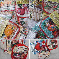 Набор на кухню - прихватка, рукавица и полотенце, разные цвета, 55/45 (цена за 1 шт. + 10 гр.)
