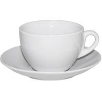 Чашка с блюдцем белая (чашка-300 мл, блюдце-16 см) Хорека