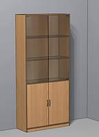 Стеллаж с накопителем и дверями из стекла