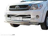 Защита переднего бампера Toyota Hilux 2006-2011 двойной ус (п.к. Т.ТК)