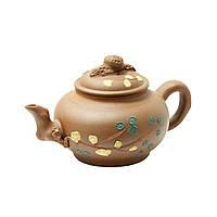 """Чайник глиняный 500 мл """"Зеленая ветка"""" ( заварочный чайник )"""