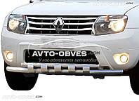 Защита переднего бампера Nissan Terrano двойной ус с грилем