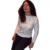 Дизайнерский вязаный женский свитер с элементами ирландского кружева
