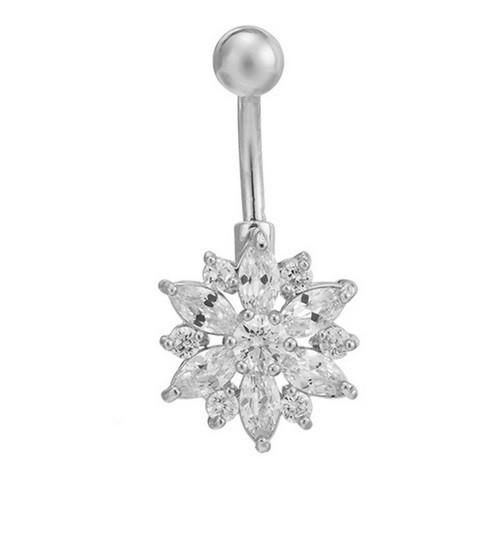Пирсинг, сережка для пупка, украшенная горным хрусталем в форме ЦВЕТКА, цвет серебро + белый камень