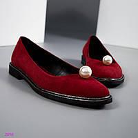 Туфли женские с большой бусиной красные