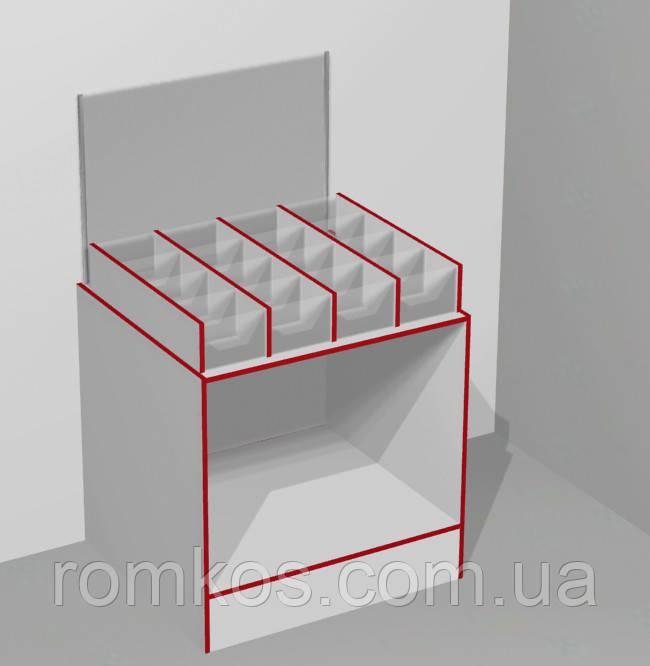 Прилавок-витрина кондитерская открытая с ячейками на 16 секций ЭК-19 (серия ЭК)