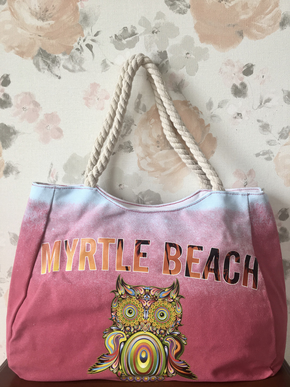 Пляжная сумка градиент с совой