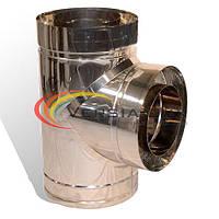 Тройник дымоходный 90° нерж/нерж 100/160мм