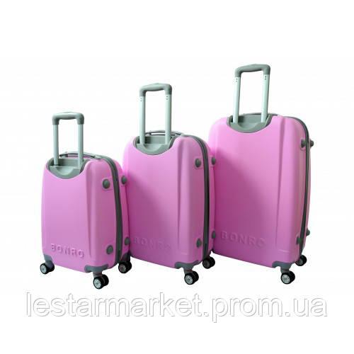 911745d68fe7 Чемодан Bonro Smile с двойными колесами набор 3 штуки розовый, ...