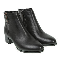 Ботильоны женские My Classic (черные, кожаные, на наблучку, классический дизайн)