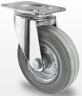 Колесо поворотное с роликовым подшипником 100 мм, сталь/серая резина (Германия)
