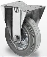 Колесо неповоротное с роликовым подшипником 100 мм, сталь/серая резина (Германия)