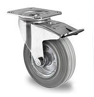Колесо поворотное с тормозом с роликовым подшипником 100 мм, сталь/серая резина (Германия)