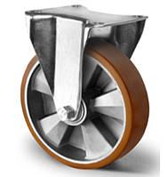 Колесо неповоротное большегрузное с шариковым подшипником 200 мм, алюминий/полиуретан (Германия)