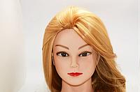 Учебная голова 30% натуральных волос, длина 65 см, золотистая