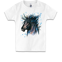 Детская футболка с рисунком черной лошади