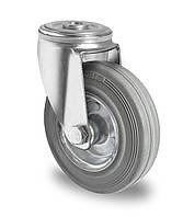 Колесо поворотное с роликовым подшипником 125 мм, сталь/серая резина (Германия)