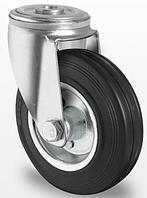 Колесо поворотное с роликовым подшипником 80 мм, сталь/черная резина (Германия)