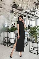 Длинное черное платье с разрезом сбоку