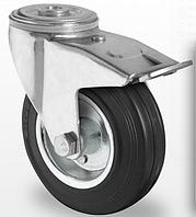 Колесо поворотное с тормозом с роликовым подшипником 125 мм, сталь/черная резина (Германия)