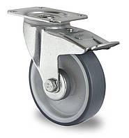 Колесо поворотное с тормозом с роликовым подшипником 80 мм, полипропилен/термопластичная резина (Германия)