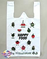 Пакет майка «Happy Food» размер 290х470, цвет зеленый