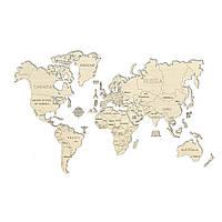 Деревянный 3D пазл Карта мира XL (огромный размер), фото 1