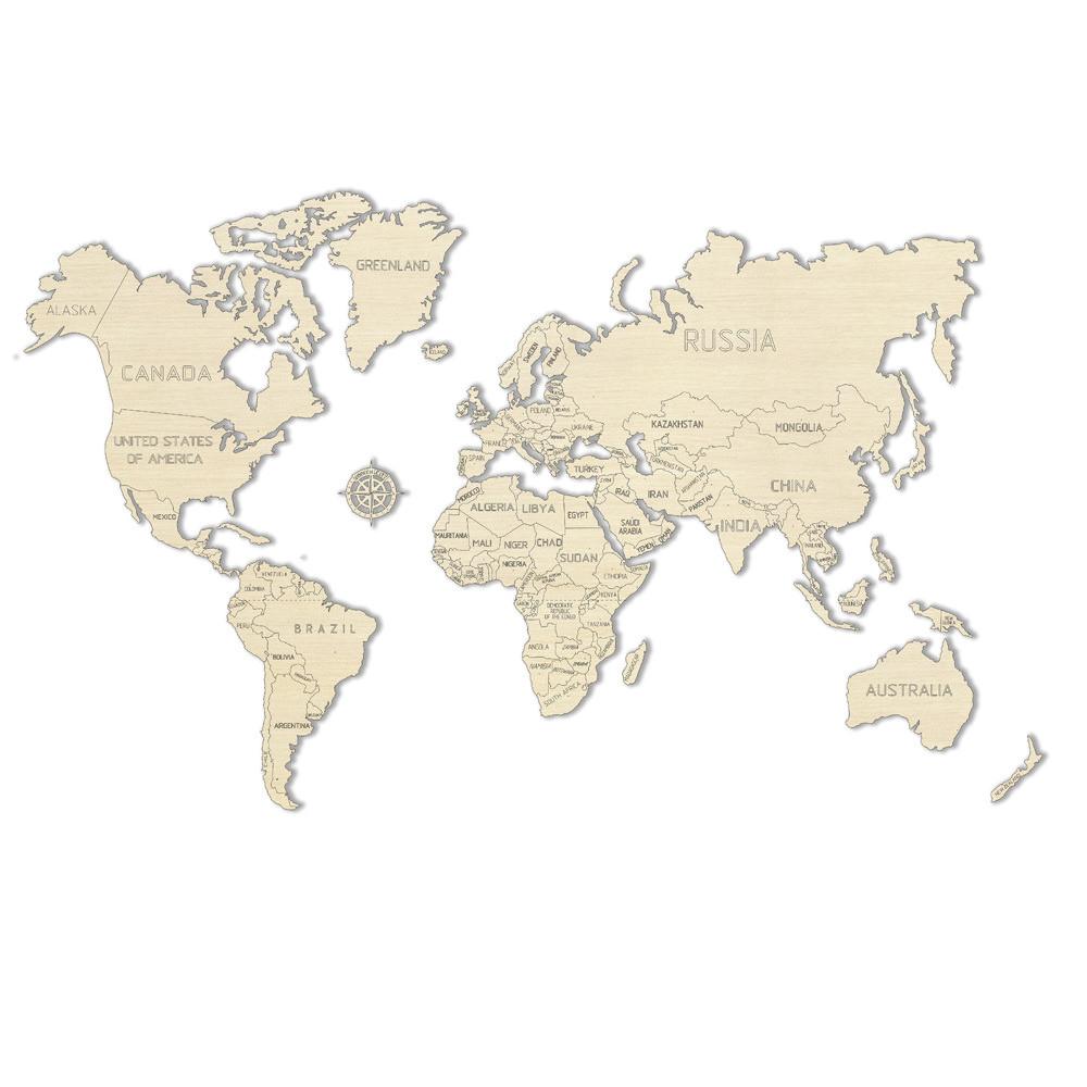 Деревянный 3D пазл Карта мира L (большой размер)