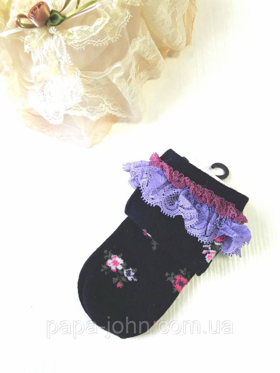 Шкарпетки квіточку,чорний,тм Bross,р. 25\27,28\30,31\33