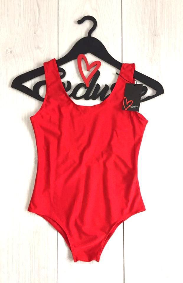 Красный женский купальник сдельный, однотонный красный купальник боди