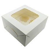 Упаковка для кексов с окошком (на 4шт) белая 170*170*90