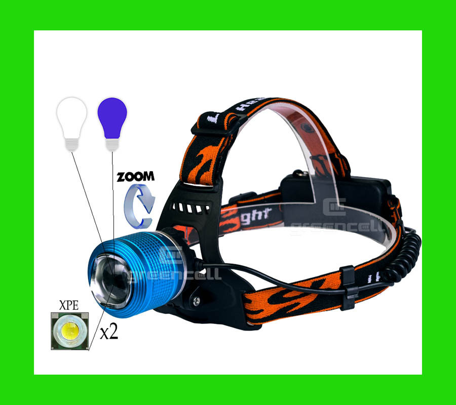 Фонарь налобный WD 260 100000W T6 XPE синий свет