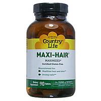 Комплексные витамины для роста волос и укрепления ногтей Country Life, Gluten Free, Maxi-Hair, 90 таблеток