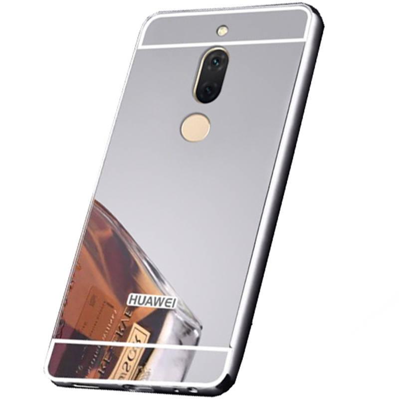 Чехол бампер на Huawei Mate 10 Lite | nova 2i металлический со съемной зеркальной крышкой, Серебристый