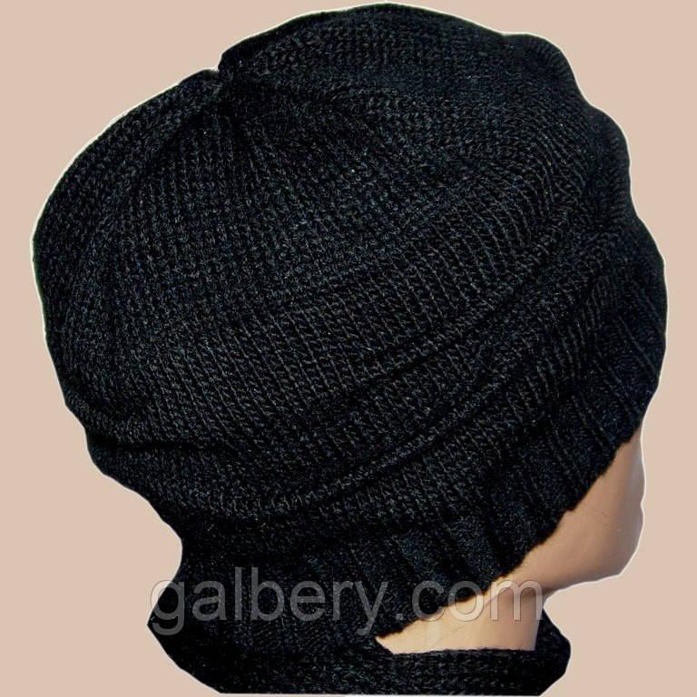 """Мужская вязаная шапка в стиле """"клоке"""" с защипами"""