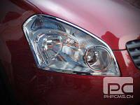Nissan Qashqai Накладки на фары (АБС, хром)
