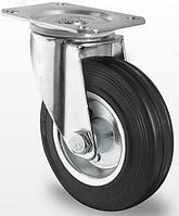 Колесо поворотное с роликовым подшипником 125 мм, сталь/черная резина (Германия)