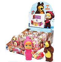 Яйца пластиковые прозрачные с игрушкой и драже Маша и Медведь, 10 г./12 шт.