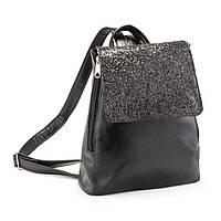 Рюкзак с клапаном черный титан с черным глиттером, фото 1